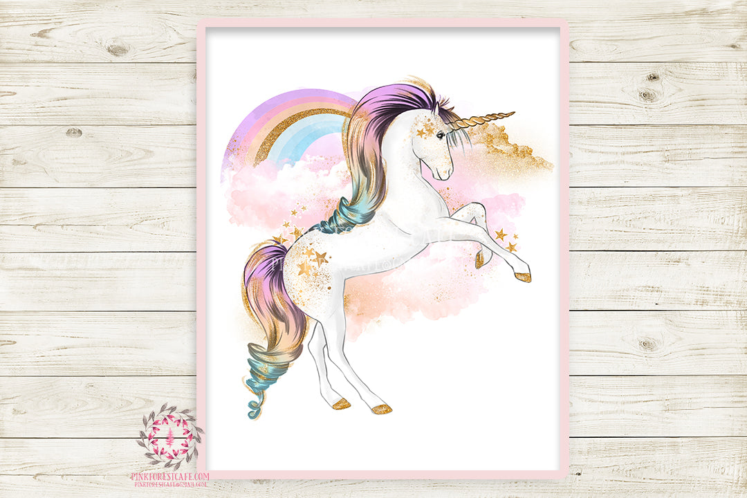Rainbow Unicorn Wall Art Print Baby Girl Nursery Boho Fantasy Poster Kids Room Printable Decor