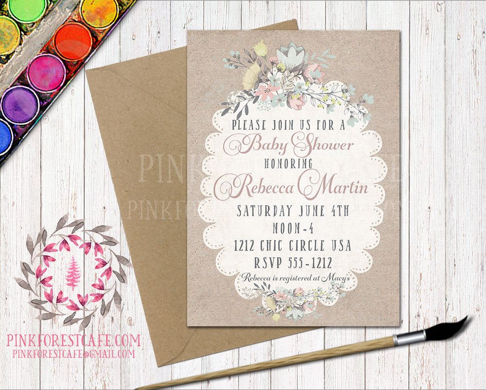 Floral Baby Bridal Shower Birthday Party Wedding Printable Invitation Invite Announcement