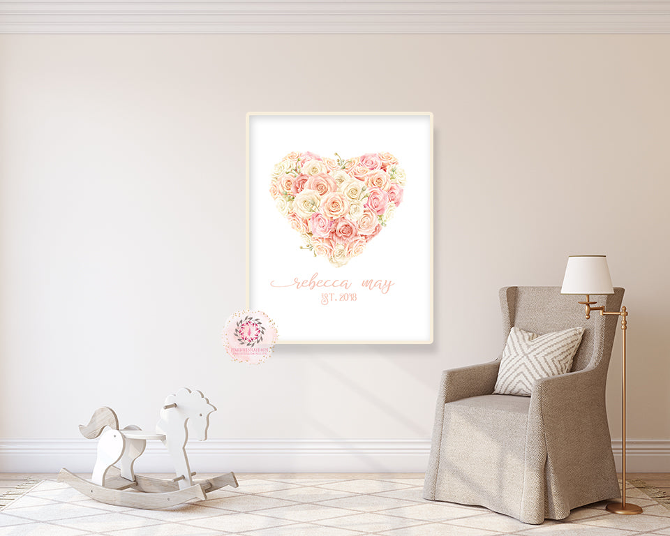 Baby Name Blush Rose Personalized Wall Art Print Nursery Floral Cream Ivory Pink Watercolor Printable Decor