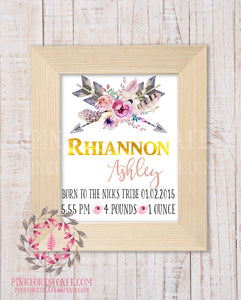 Boho Baby Birth Stats Announcement Tribal Woodland Nursery Room Printable Print Wall Art Decor