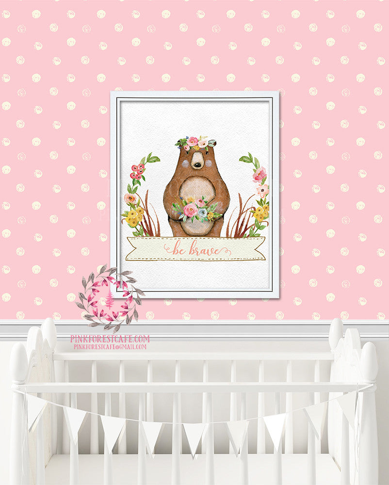 Bear Woodland Boho Bohemian Floral Nursery Baby Girl Room Prints Printable Print Wall Art Decor