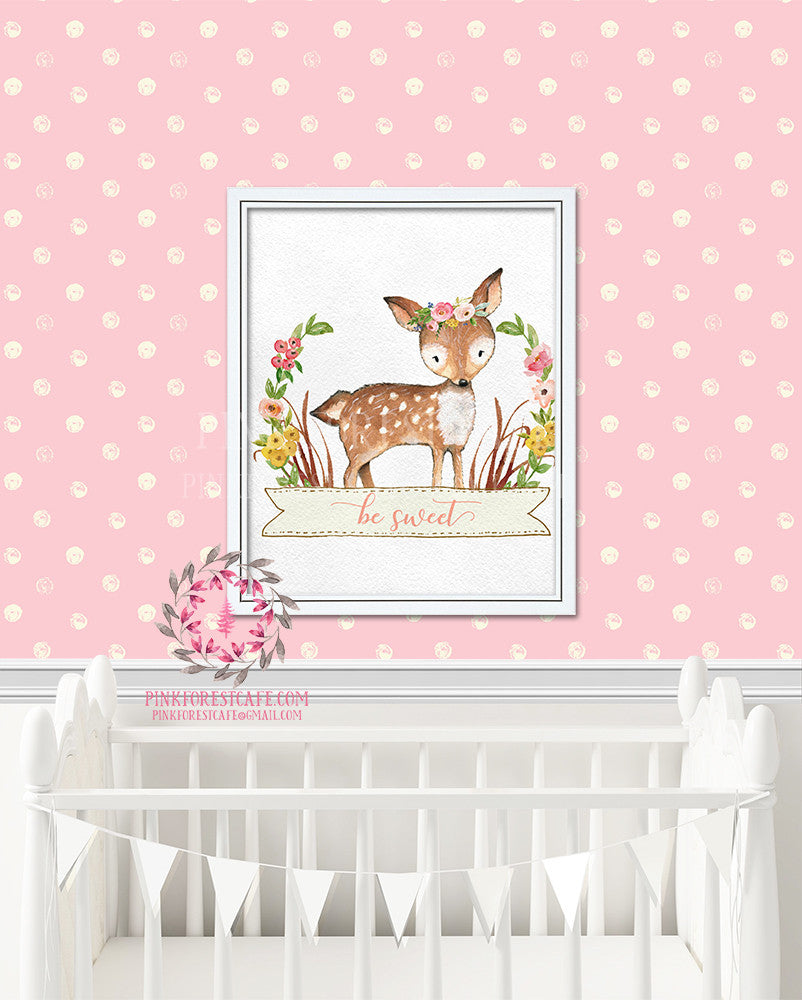 Deer Woodland Boho Bohemian Floral Nursery Baby Girl Room Prints Printable Print Wall Art Decor