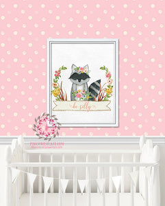 Raccoon Woodland Boho Bohemian Floral Nursery Baby Girl Room Prints Printable Print Wall Art Decor