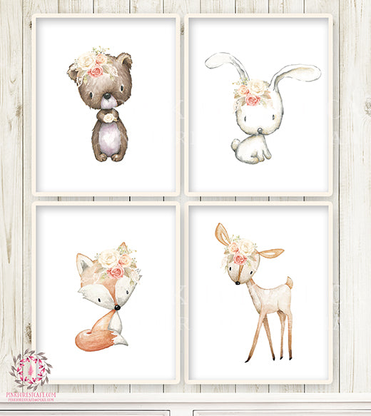 Deer Fox Bunny Rabbit Bear Wall Art Print Nursery Boho Woodland Lace Blush Rose Bohemian Floral Baby Girl Room Set Lot Prints Printable Decor