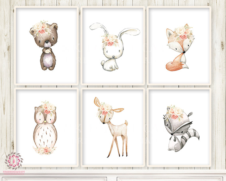 Deer Fox Bunny Rabbit Bear Wall Art Print Nursery Boho Woodland Lace Blush Cream Rose Bohemian Owl Raccoon Floral Baby Girl Room Set Lot Prints Printable Decor