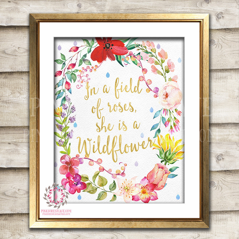 In A Field Of Roses She Is A Wildflower Baby Girl Nursery Printable Wall Art Print Boho Watercolor Floral Room Decor
