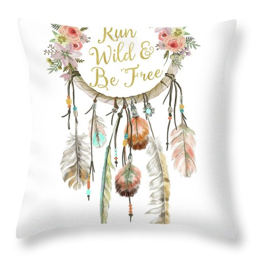 Run Wild And Be Free Dreamcatcher Boho Feather Tribal Throw Pillow Baby Girl Nursery Decor