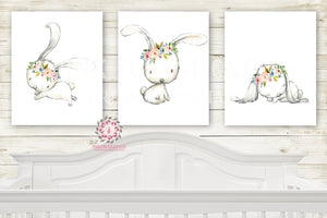 Boho Bunny Rabbit Set 3 Watercolor Wall Art Print Baby Girl Nursery Prints Poster Room Printable Decor