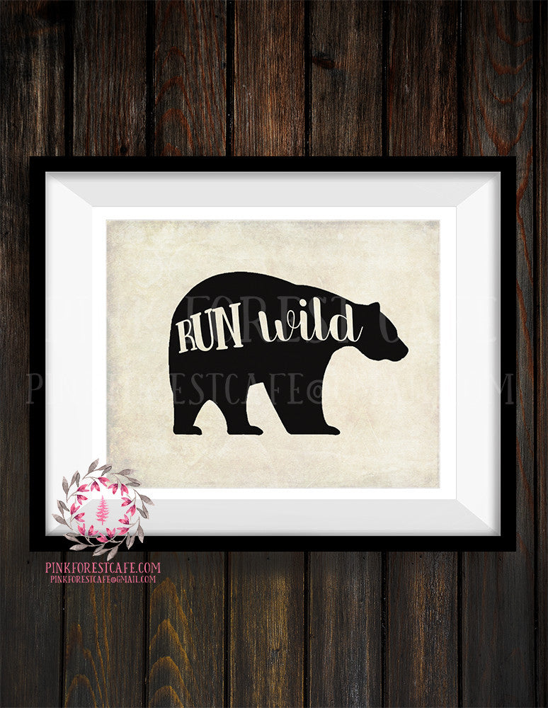 Bear Run Wild Adventure Woodland Printable Wall Art Print Nursery Decor