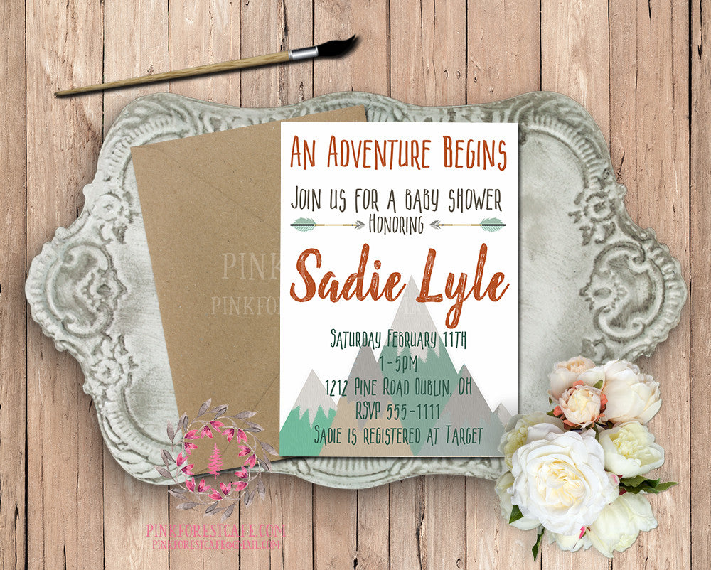 Woodland Baby Bridal Shower Birthday Party Printable Invitation Invite Announcement