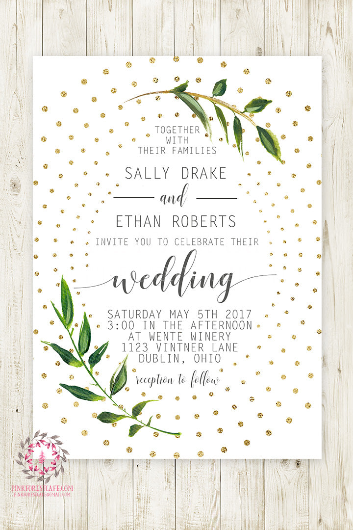 Geometric Greenery Wedding Invite Invitation Bridal Baby Shower Gold Watercolor Save The Date Printable