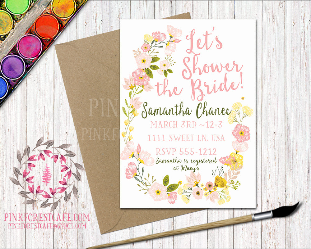 Watercolor Floral Baby Bridal Shower Birthday Party Wedding Printable Invitation Invite Announcement