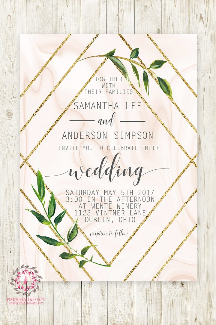 Geometric Marble Greenery Wedding Invite Invitation Bridal Baby Shower Gold Watercolor Save The Date Printable
