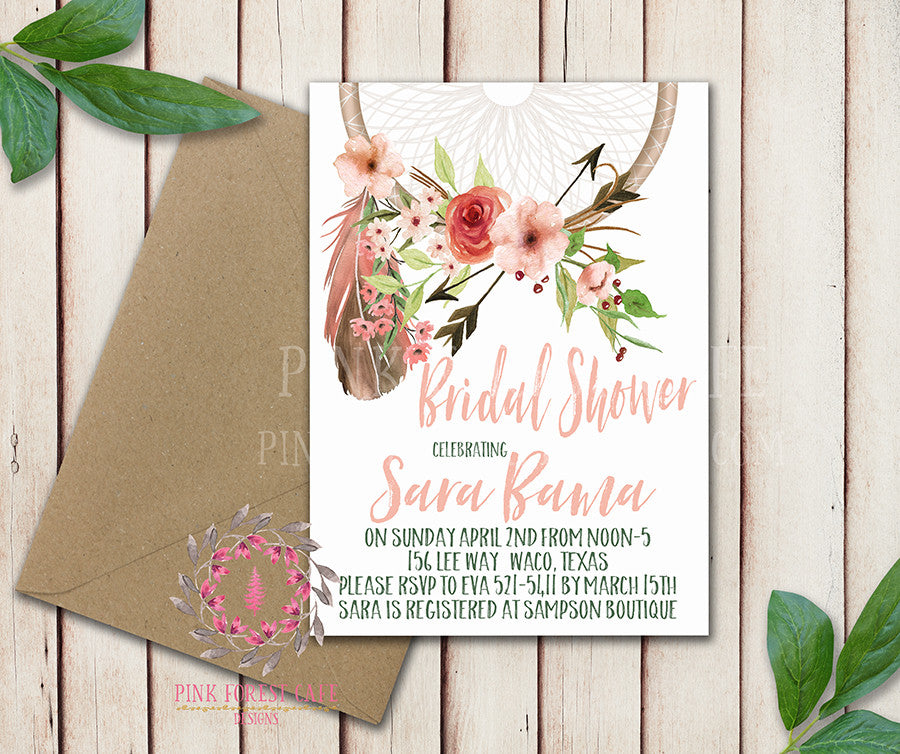 Dreamcatcher Baby Bridal Shower Chalkboard Birthday Party Wedding Invitation Save The Date Announcement Invite Feathers Boho Bohemian Chic Tribal Woodland Watercolor Floral Rustic Printable Art Stationery Card