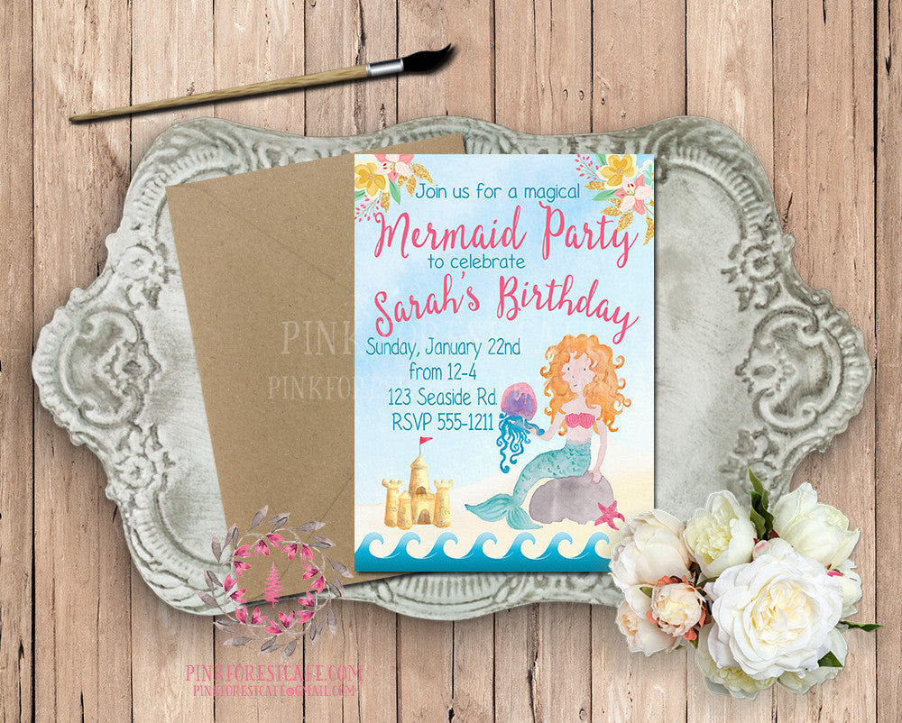 Mermaid Theme Girls Birthday Party Beach Swimming Baby Bridal Shower Printable Invitation Invite