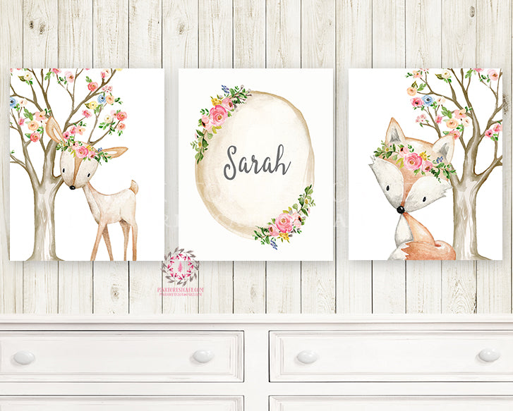3 Boho Deer Fox Baby Name Wall Art Print Woodland Nursery Baby Girl Room Set Lot Watercolor Personalized Birth Stats Prints Printable Decor