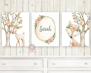 3 Boho Deer Fox Baby Name Wall Art Print Woodland Nursery Baby Girl Room  Set Lot