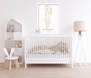Boho Baby Newborn Birth Stats Wall Art Print Fetus Stats Watercolor Nursery Printable Décor