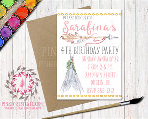 Boho Tribal Invite Invitation Bohemian Girl Birthday Party Baby Bridal Shower Printable Announcement