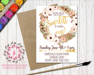Boho Baby Girl 1st Birthday Party Invitation Invite Feathers Woodland Watercolor Floral Printable