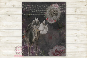 "Boho Unicorn Monochrome Nursery Wall Art Print Ethereal ""Seraphina"" Shabby Chic Rustic Printable Watercolor Mystery Fantasy Magical Decor"