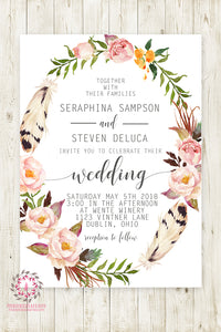 Boho Floral Feather Wedding Invite Invitation Bridal Baby Shower Gold Watercolor Save The Date Printable