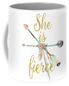 She Is Fierce Boho Tribal Gold Blush Arrow Print Coffee Cup Mug