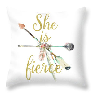 She Is Fierce Boho Tribal Arrow Print Baby Girl Nursery Throw Pillow Gold Blush Decor