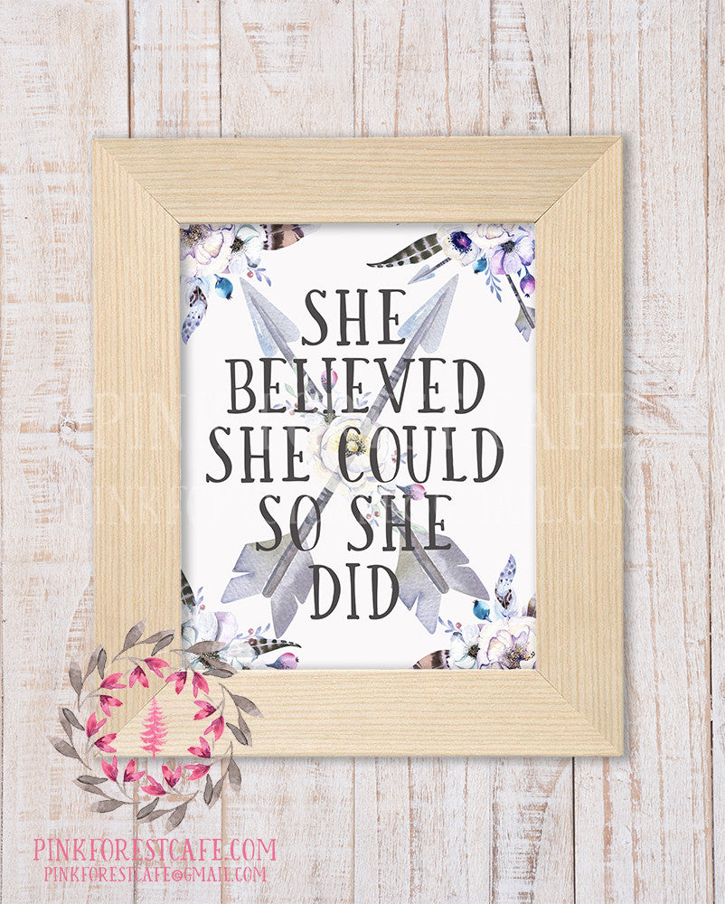 She Believed She Could So She Did Boho Arrows Tribal Woodland Baby Nursery Decor Wall Art Printable Print