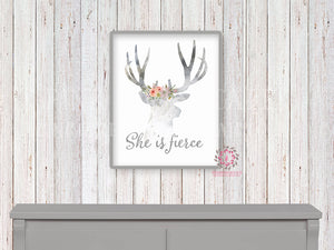 She Is Fierce Deer Woodland Boho Printable Print Wall Art Nursery Baby Girl Room Bohemian Watercolor Floral Decor