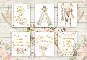 She is Fierce She Will Move Mountains Wall Art Print Boho Bohemian Teepee Deer Antlers Watercolor Gold Floral Nursery Baby Girl Room Set Lot 6 Prints Printable Decor