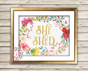 She Shed Boho Shabby Chic Printable Garden Flowers Wall Art Print Poster Sign Bohemian Gold Room Watercolor Floral Home Decor