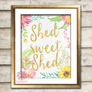 She Shed Sweet Boho Shabby Chic Printable Garden Flowers Wall Art Print Poster Sign Bohemian