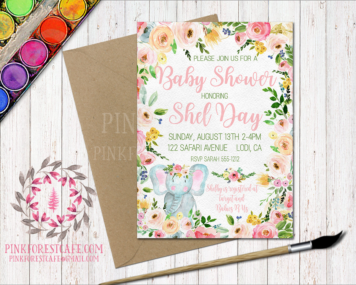 Elephant Zoo Animal Boho Baby Shower Birthday Party Book Insert Invitation Announcement Invite Watercolor Floral Printable