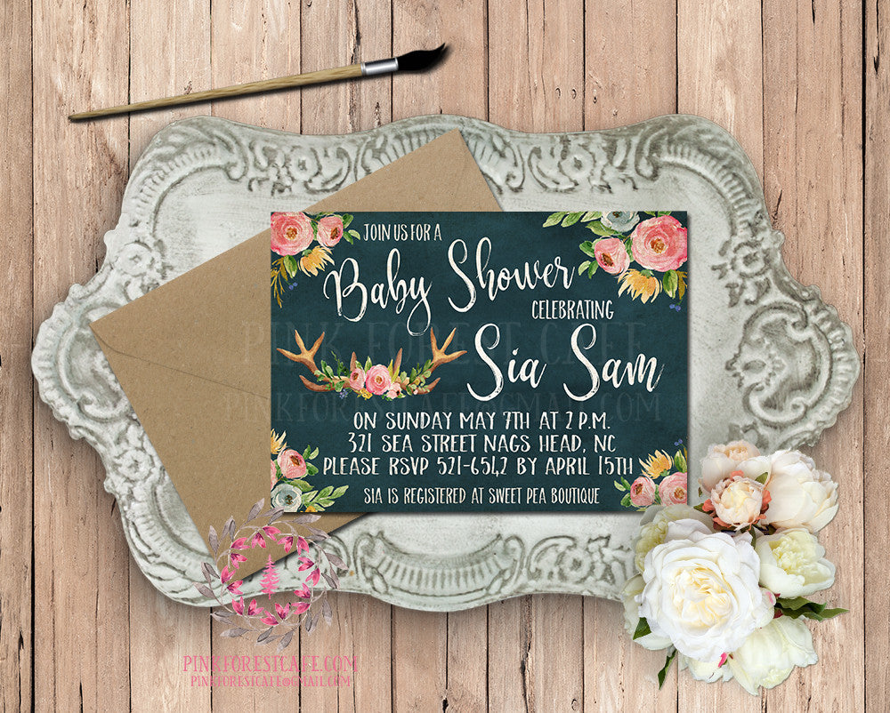 Chalkboard Baby Bridal Shower Birthday Party Wedding Invitation Announcement Invite Woodland Watercolor Printable