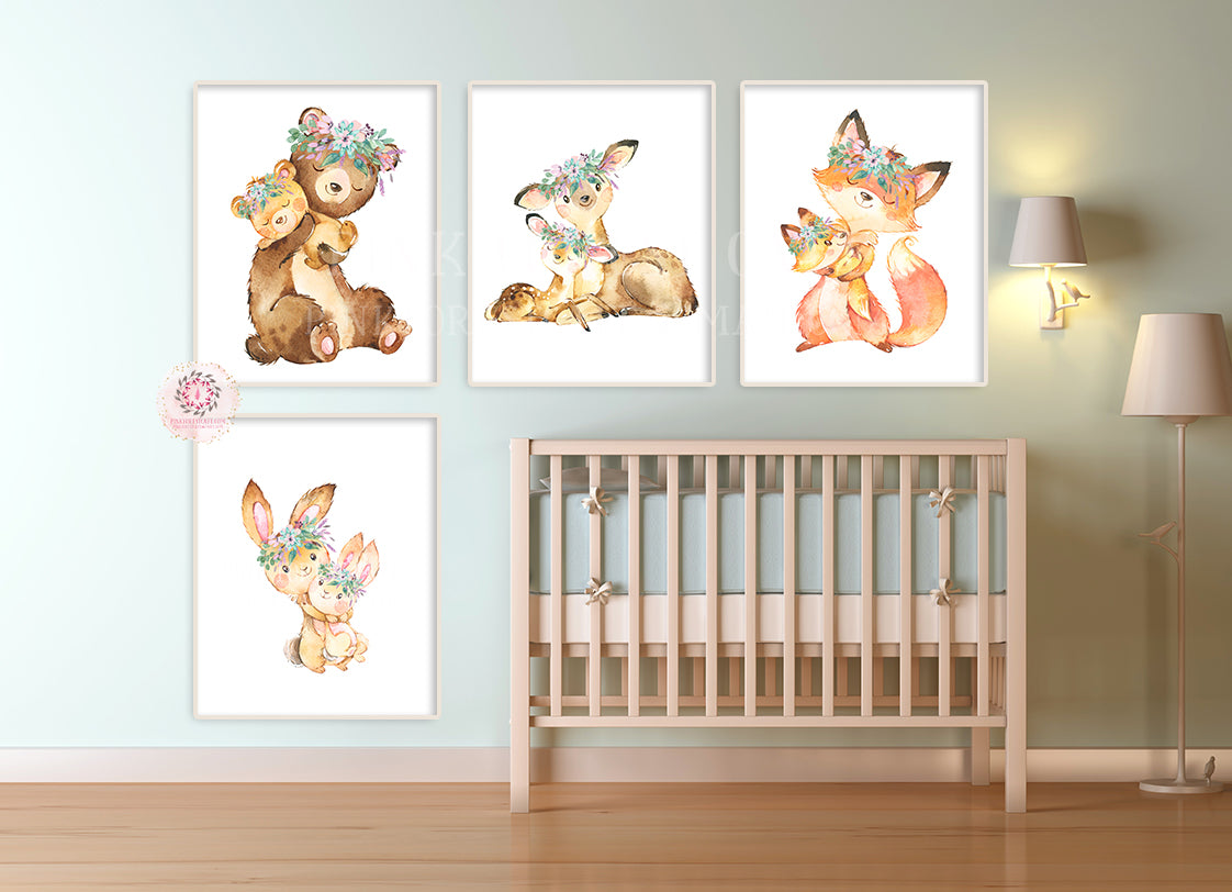 4 Purple Deer Fox Bunny Rabbit Bear Woodland Boho Wall Art Print Nursery Set Floral Nursery Baby Girl Room Prints Printable Decor
