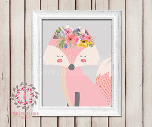 Sleeping Fox Woodland Bohemian Boho Floral Watercolor Flowers Nursery Kids Baby Girl Room Playroom Prints Printable Wall Poster Art Home Decor