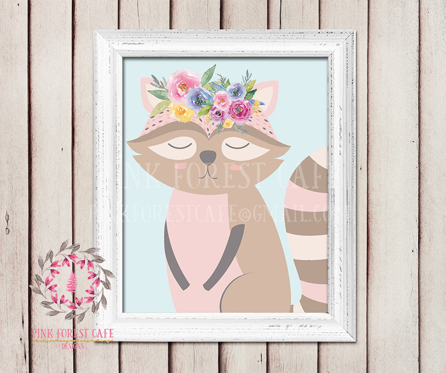 Sleeping Raccoon Woodland Bohemian Boho Floral Watercolor Flowers Nursery Kids Baby Girl Room Playroom Prints Printable Wall Poster Art Home Decor