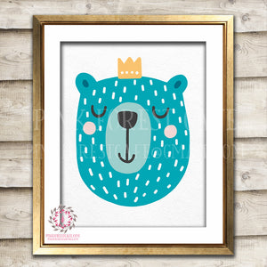 Sleeping Boho Sleepy Bear Woodland Nursery Decor Wall Art Printable Print