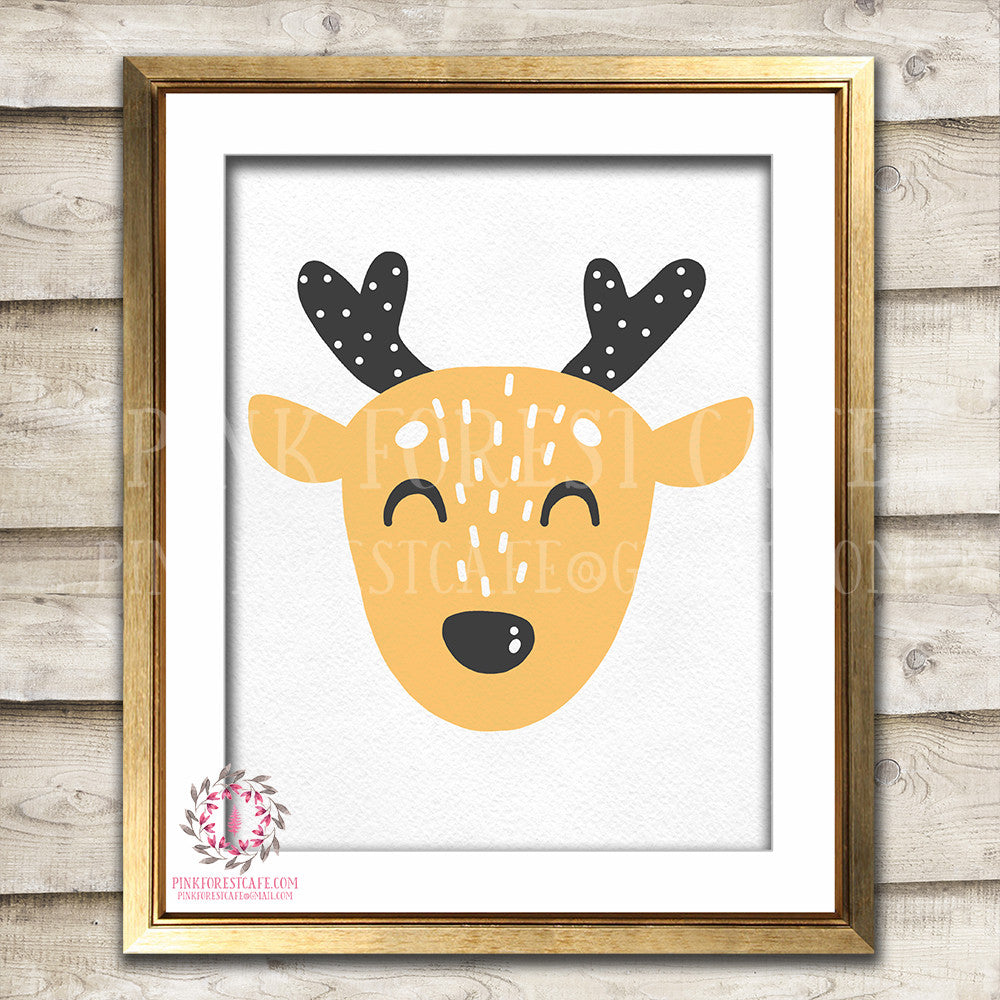 Sleeping Boho Sleepy Deer Woodland Nursery Decor Wall Art Printable Print