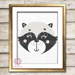 Sleeping Boho Sleepy Raccoon Woodland Nursery Decor Wall Art Printable Print