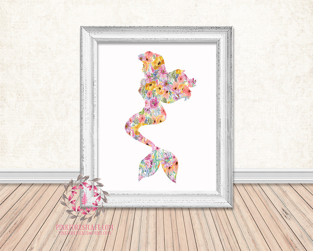 Little Mermaid Nursery Baby Girl Nautical Room Printable Print Wall Art Home Decor