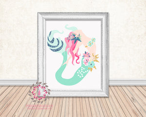Mermaid Nautical Printable Print Wall Art Home Nursery Home Decor
