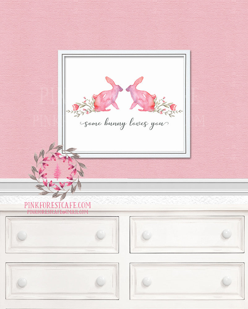 Some Bunny Loves You Rabbit Pink Boho Woodland Floral Nursery Baby Girl Room Printable Print Wall Decor