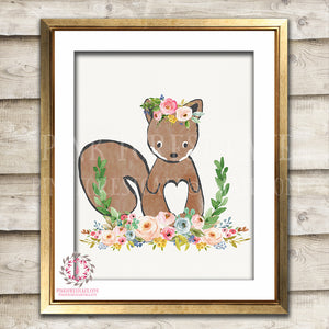 Squirrel Woodland Boho Bohemian Floral Nursery Baby Girl Room Printable Print Wall Art Decor