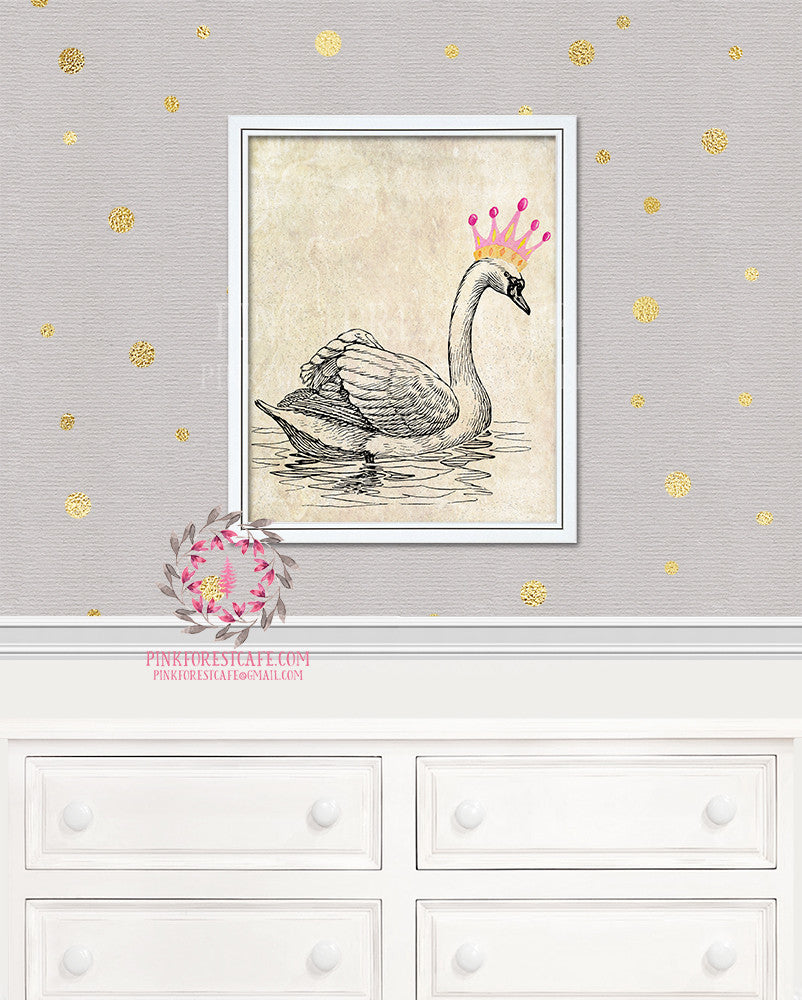 Swan Crown Boho Nursery Home Decor Wall Art Printable Print