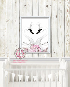 Swan Pink Peonies Watercolor Printable Wall Art Baby Girl Nursery Decor Print