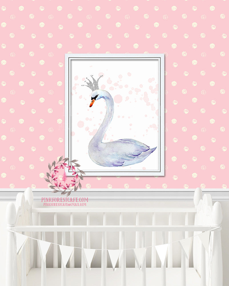 Swan Crown Watercolor Printable Wall Art Baby Girl Nursery Decor Print