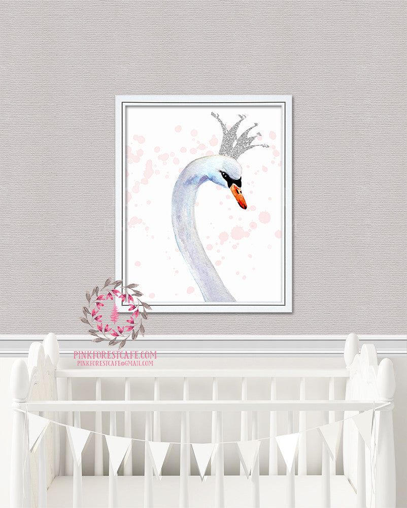 Silver Crown Boho Swan Wall Art Print Watercolor Baby Girl Nursery Printable Decor