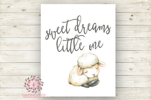 Sweet Dreams Little One Sheep Lamb Watercolor Wall Art Print Baby Girl Farm Farmhouse Nursery Poster Room Printable Decor